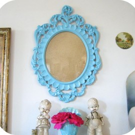 Ornate Italian Baroque Oval Frame Aqua By Shabby Vintage Mom On Esty