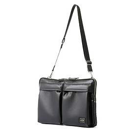 "HEAD PORTER - ""KRUGER"" DOCUMENT SHOULDER BAG 13inch BLACK"