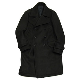 OFFICINE GENERALE - English Wool Military Long Pea Coat / Navy