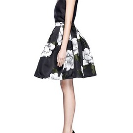 LANVIN - Rose jacquard flared skirt