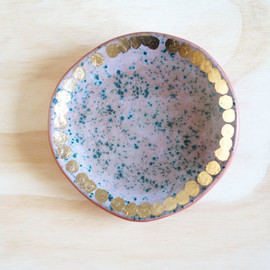 theobjectenthusiast - 7 inch terracotta plate with speckled turquoise and gold