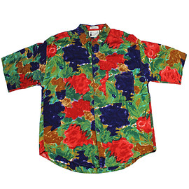 VINTAGE - Vintage 90s Floral Print Rayon Button Up Shirt in Red/Green/Blue Mens Size Medium