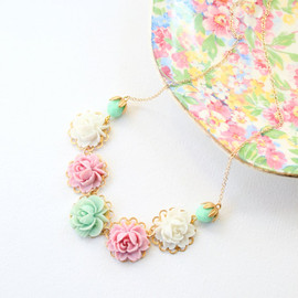 NestPrettyThings - Lilac Mint and White Rose Flower Necklace-14K gold filled chain