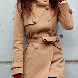 coat - Image of  [grzxy6600684]Elegant Classy Double Breast Solid Color Stand Collar Worsted Coat