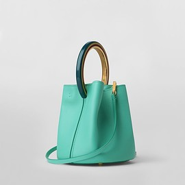 MARNI - Marni PANNIER bag in green leather with multicolored handle Woman - 3
