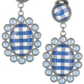 miu miu - Gingham and plxiglass crystal clip earrings