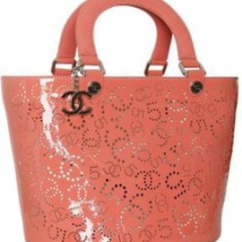 Chanel - Chanel coral perforated patent leather bucket tote