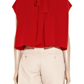 Chloe - Cape-back silk-crepe blouse