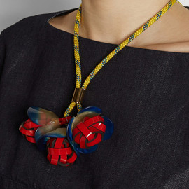 MARNI - Horn, PVC and rope necklace
