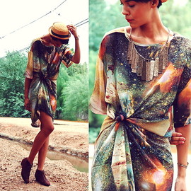 Vintage Straw Hat, Galaxy Print Maxi Dress, Vintage Suede Pixie Boots, Burberry Embossed Necklace