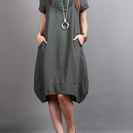 dress - linen Chic short sleeved tunic dress