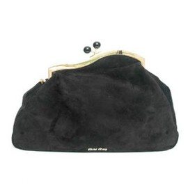 miu miu - Black Suede Clutch