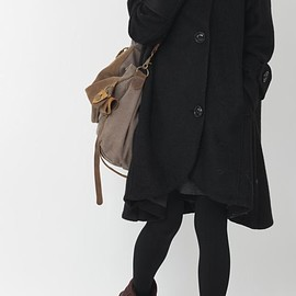 Black Wool Coat ,Women Wool Winter long Coat, Hooded Cape cloak coat,Christmas Gift Coat - COAT