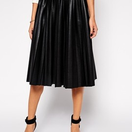 ASOS - Pleated Midi Skirt in Leather Look