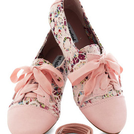 ModCloth - A Study in Scenery Flat - Pink, Multi, Floral, Lace, Casual, Spring