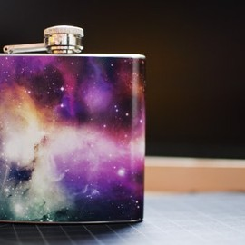 Supply By Chrit - 6oz Cosmos Galaxy Space Sagan Nebula Stainless Steel Hip Flask