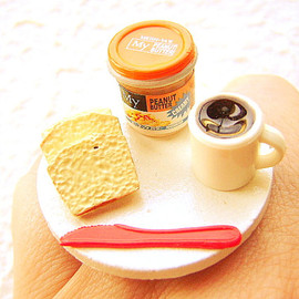 SouZouCreations - Breakfast Ring Bread Peanut Butter Coffee  Miniature Food  Jewelry