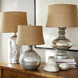 Pottery Barn - ANTIQUE MERCURY GLASS TABLE & BEDSIDE LAMPS