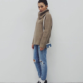 moussy - RIB TURTLE KNIT TOPS