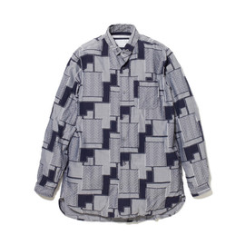 White Mountaineering - OVERDYED COTTON/POLYESTER PATCHWORK CUT JACQUARD LONG SHIRT