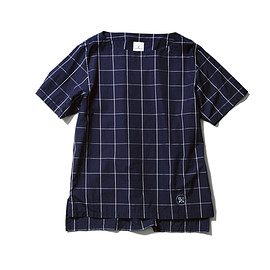 uniform experiment - S/S WINDOW PANE BOAT NECK LONG SHIRT/navy