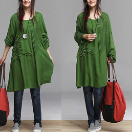 ETSY - Autumn grass green embroidery cotton long-sleeved coat / woman hedging long coat  Maxi Dress
