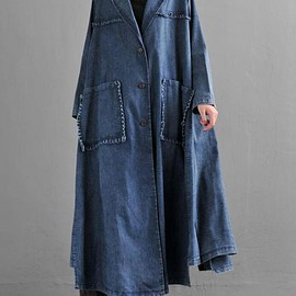 Oversize Thin coat - Women maxi Oversize Thin coat, Loose cowboy Windbreaker, Cotton Long coat, coat for Women