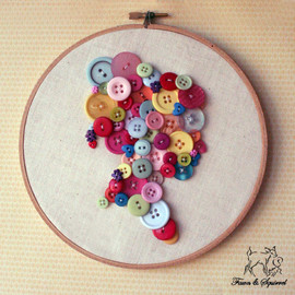 FawnandSquirrel - Button & Calico Cameo Girl Silhouette Hoop Wall Art