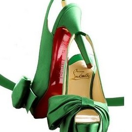 Christian Louboutin - green satin pumps