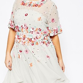 ASOS - Image 3 of ASOS CURVE Skater Dress with 3D Embellishment