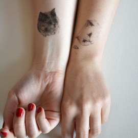 harrietgray - temporary tattoos - set of three fake cat tatts - 7designs to choose from - realistic tattoos - mix and match