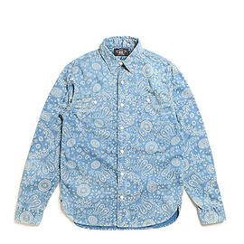 RRL - Indigo Cotton Sateen Workshirt-Indigo Cream