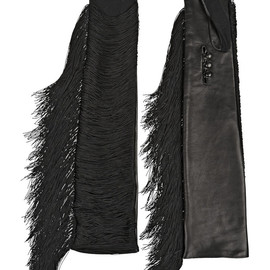 LANVIN - FW2014 Fran fringed jersey and leather gloves