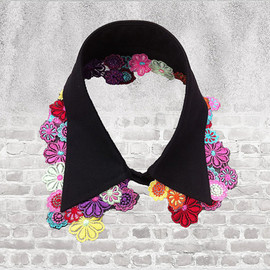 MICartsy - MICartsy Turndown Black Collar Necklace with Hand Sewn Multi-Color 3D Flowers