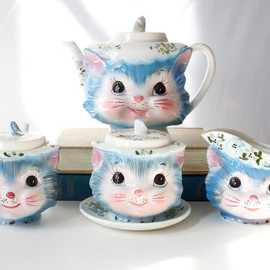 Vintage Tea Set, 1960's Miss Priss Kitty Cat , Sugar Cream Full Service, lefton