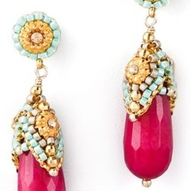 Miguel Ases - , Miguel Ases Pink Jade & Crystal Drop Earrings