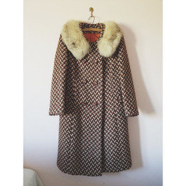 vintage 1960s autumn tweed fur collared coat