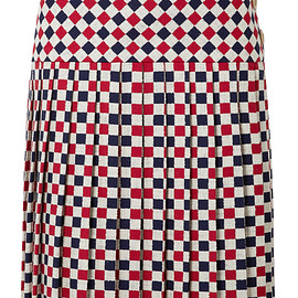 GUCCI - FW2018 Pleated checked wool-blend crepe midi skirt
