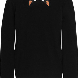 RED Valentino - Swan-collar stretch-knit sweater