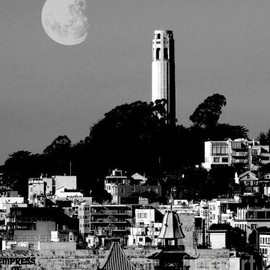 Fine Art America - Coit Tower Empress of China and the Moon - Black and White Canvas Print / Canvas Art - Artist Win...
