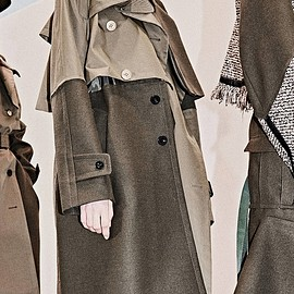 sacai - Cotton Gabardine x Wool Melton Coat  KHAKI