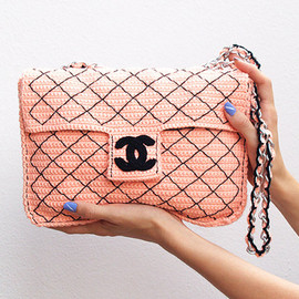 CHANEL - Coral crochet Chanel 2.55 bag - handmade version of Chanel classique