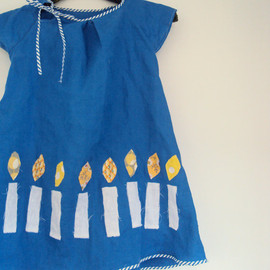 ananemone - Hanukkah Dress, girls blue dress with white candles, children's holiday clothing.