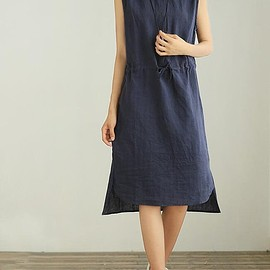 dress - Linen dresses for women, sleeveless dress, linen maxi dress, Cotton dress, prom dress