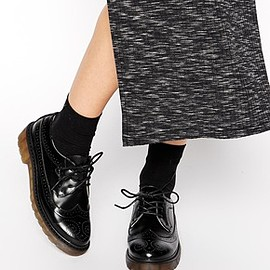 asos - Image 1 of Daisy Street Black Brogue Flat Shoes