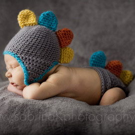 OnHeathersHook - Colorful DINO Hat and Diaper Cover