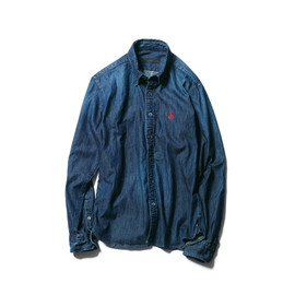 SOPHNET. - SCORPION EMBROIDERY DENIM B.D SHIRT (DAMAGED)