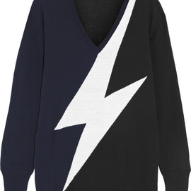 NEIL BARRETT - Oversized intarsia merino wool sweater
