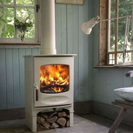 Ivory wood stove...the ultimate in winter cozy