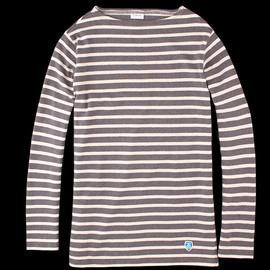 ORCIVAL - Striped Long Sleeve Tee in Ecru and Anthracite